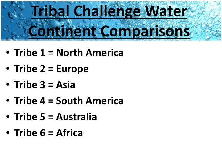 Tribal Challenge Water Continent Comparisons