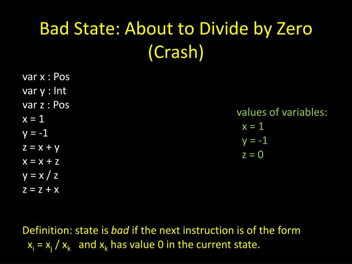 Bad State: About to Divide by Zero (Crash)