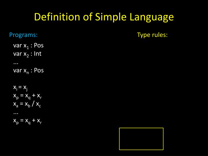 Definition of Simple Language