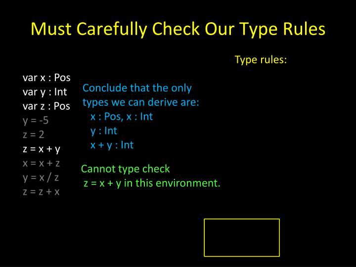 Must Carefully Check Our Type Rules