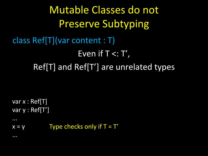 Mutable Classes do not