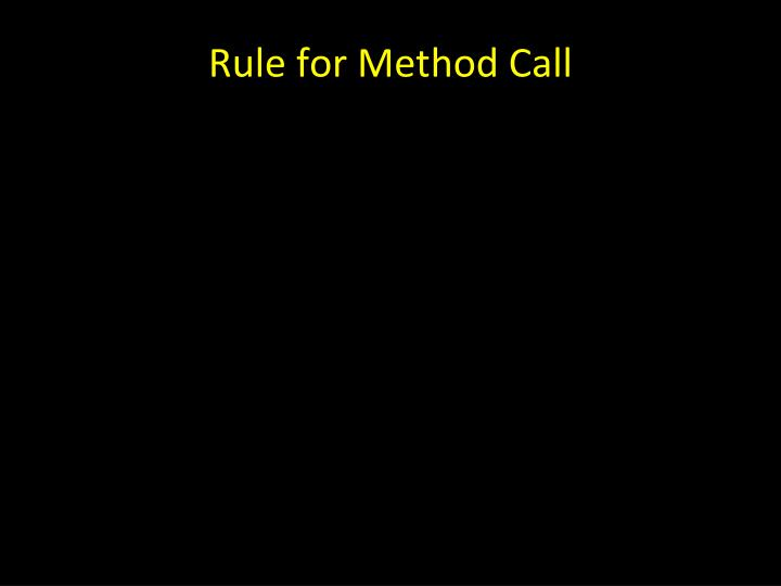 Rule for Method Call