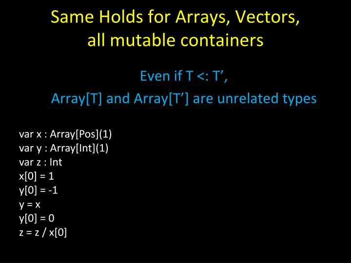 Same Holds for Arrays, Vectors,