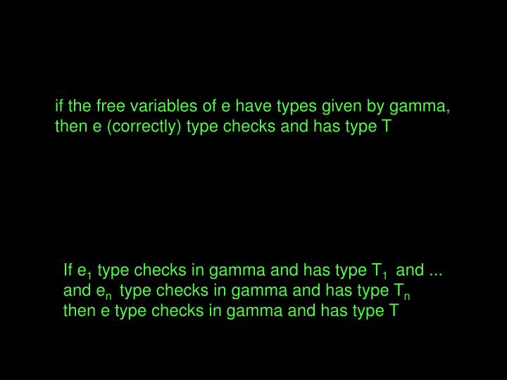 if the free variables of e have types given by gamma,
