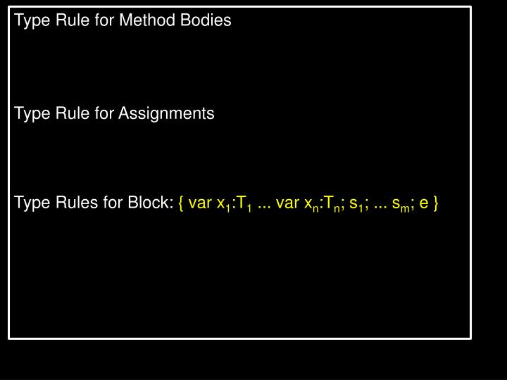 Type Rule for Method Bodies