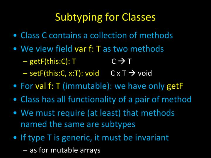 Subtyping for Classes