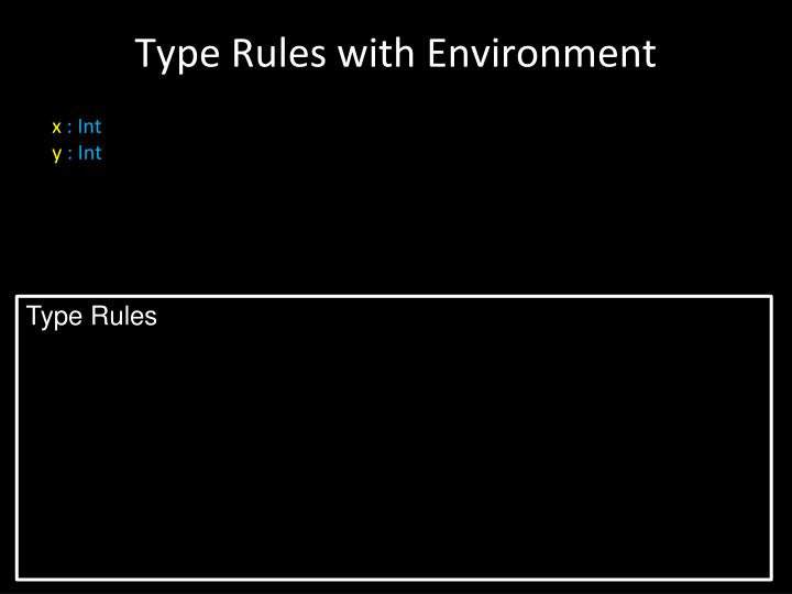Type Rules with Environment