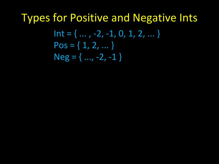 Types for Positive and Negative