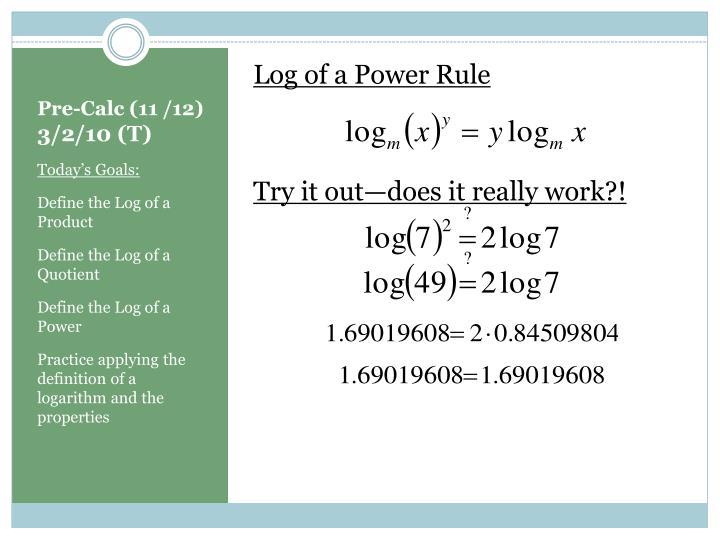 Log of a Power Rule
