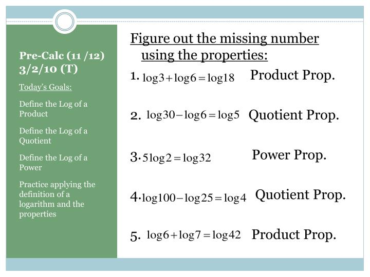 Figure out the missing number using the properties: