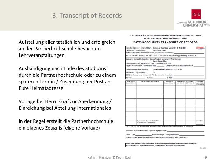 3. Transcript of Records