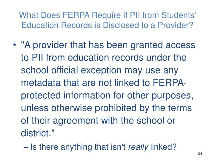 What Does FERPA Require if PII from Students' Education Records is Disclosed to a Provider?
