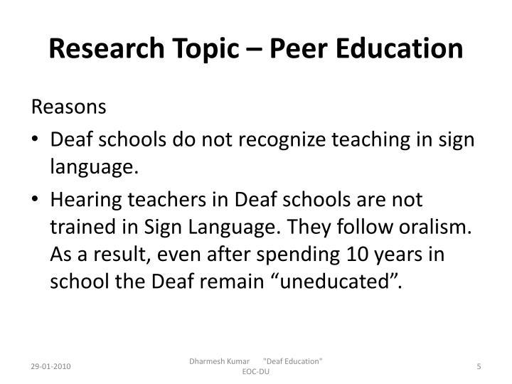 Research Topic – Peer Education