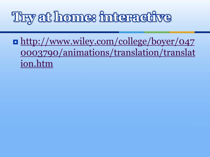 Try at home: interactive