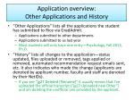 application overview other applications and history