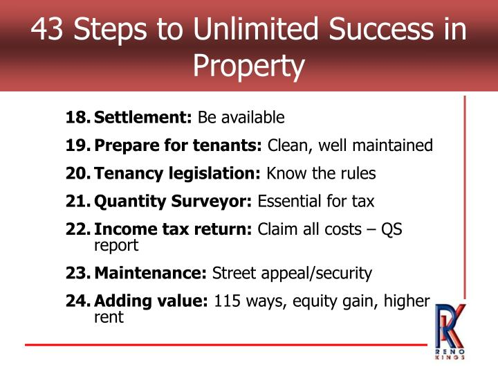 43 Steps to Unlimited Success in Property