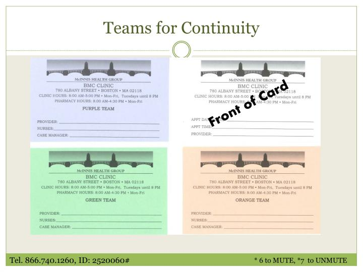 Teams for Continuity