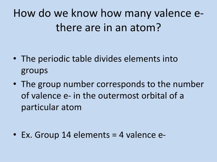 How do we know how many valence e there are in an atom