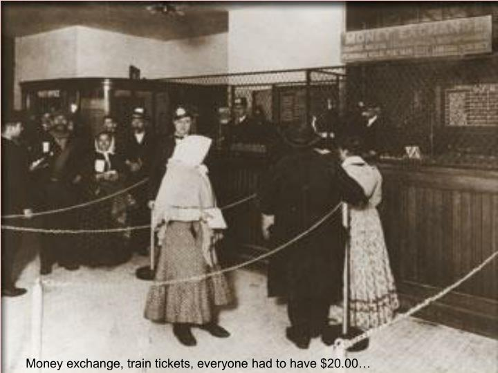 Money exchange, train tickets, everyone had to have $20.00…