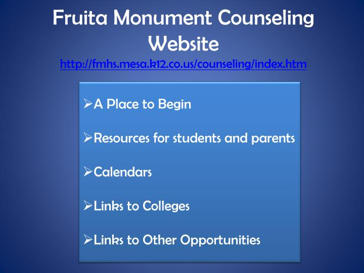 Fruita Monument Counseling Website