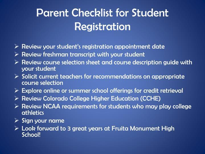 Parent Checklist for Student Registration