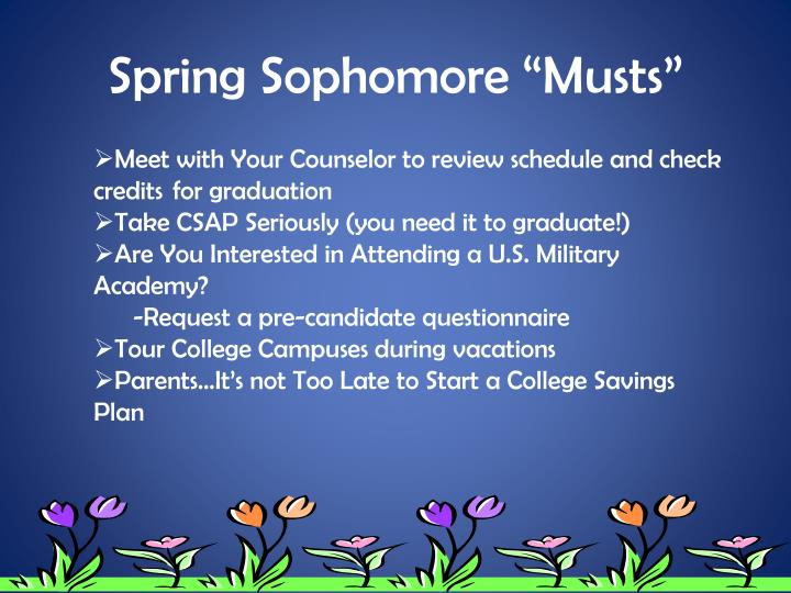 """Spring Sophomore """"Musts"""""""