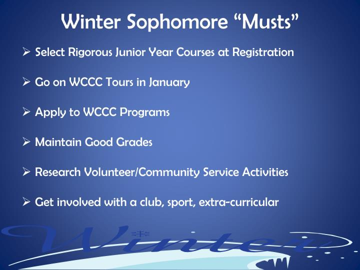 """Winter Sophomore """"Musts"""""""