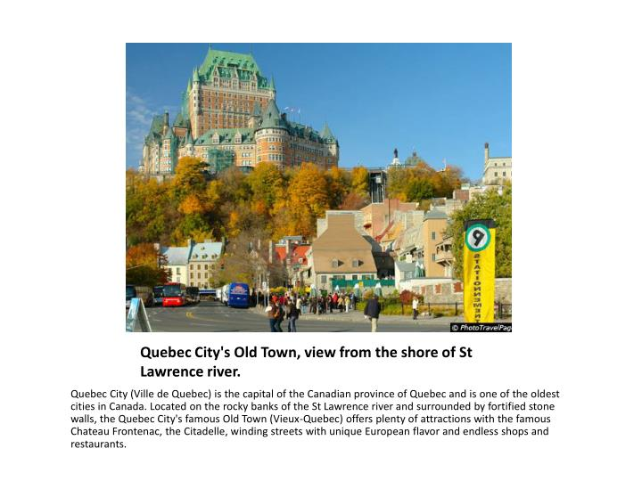 Quebec City's Old Town, view from the shore of St Lawrence river.