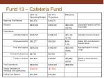 fund 13 cafeteria fund