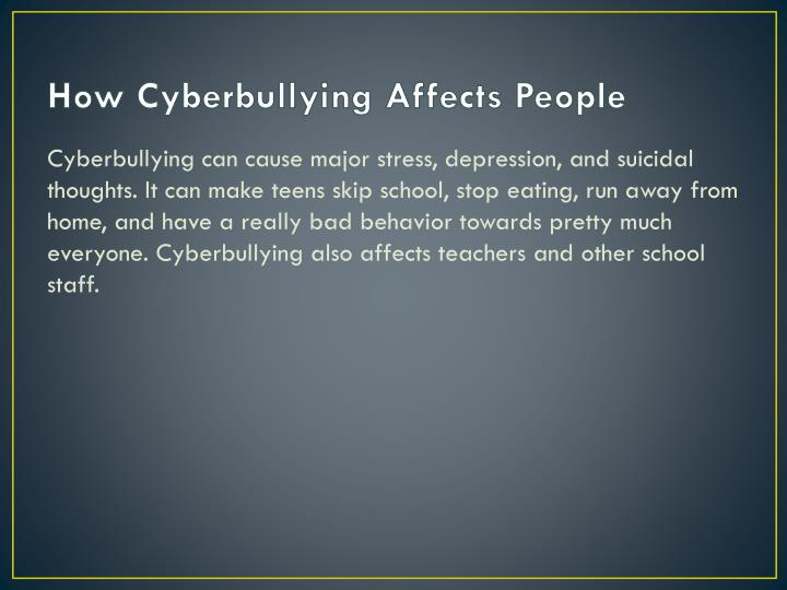 How Cyberbullying Affects People