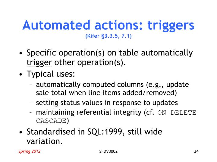 Automated actions: triggers