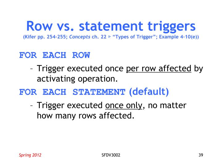 Row vs. statement triggers