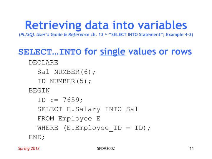 Retrieving data into variables