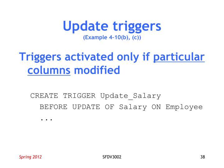 Update triggers
