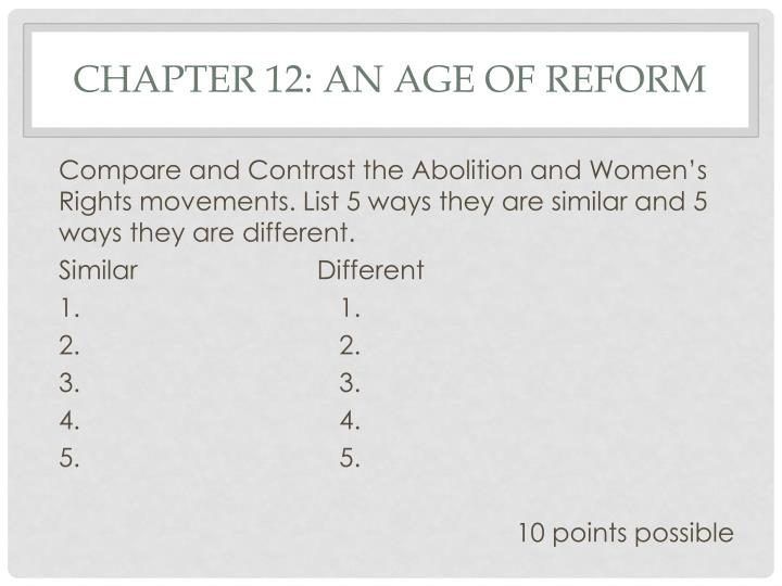 Chapter 12: An age of Reform