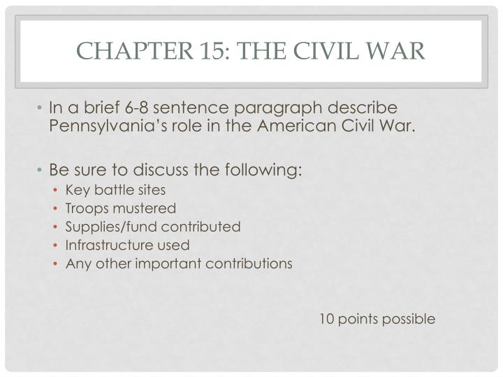 Chapter 15: The civil war