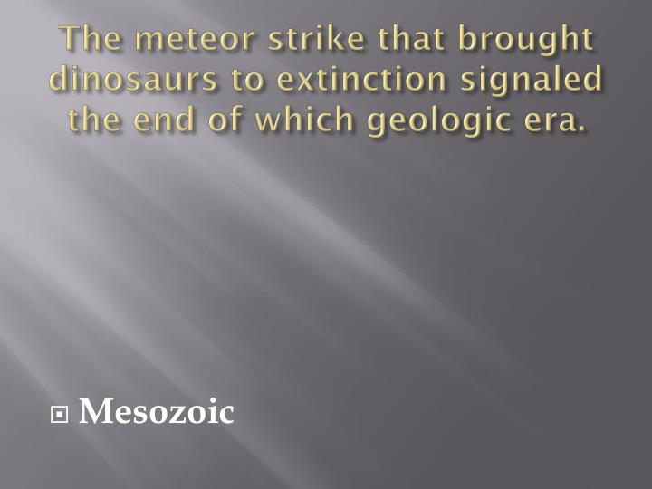 The meteor strike that brought dinosaurs to extinction signaled the end