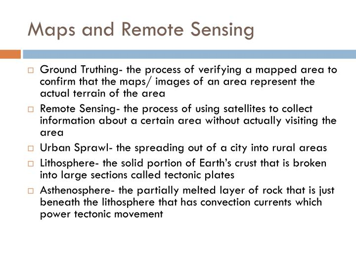 Maps and Remote Sensing