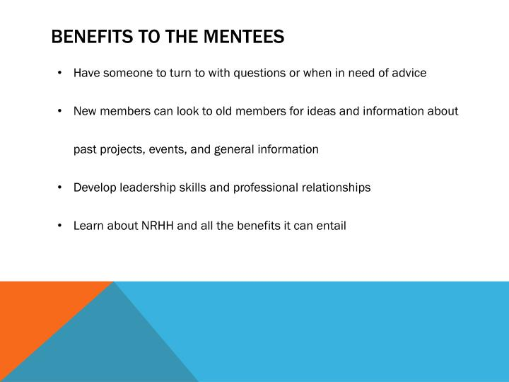 Benefits to the Mentees