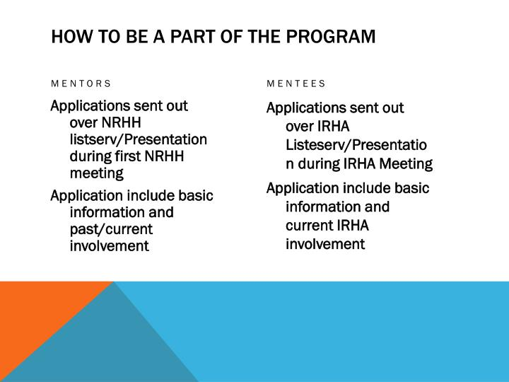 How to be a part of the Program