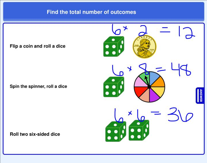 Find the total number of outcomes