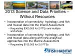 2013 science and data priorities without resources