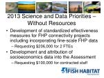 2013 science and data priorities without resources1