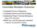 committee workplan outcomes