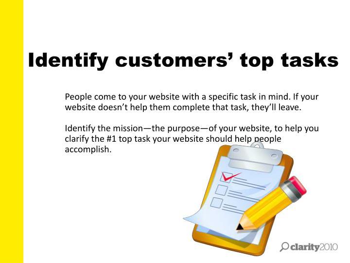 Identify customers' top tasks