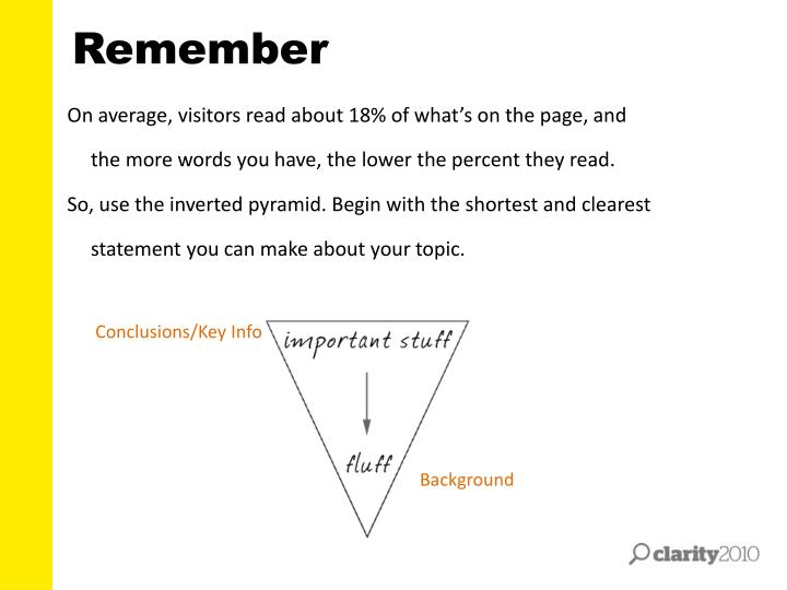 On average, visitors read about 18% of what's on the page, and the more words you have, the lower the percent they read.