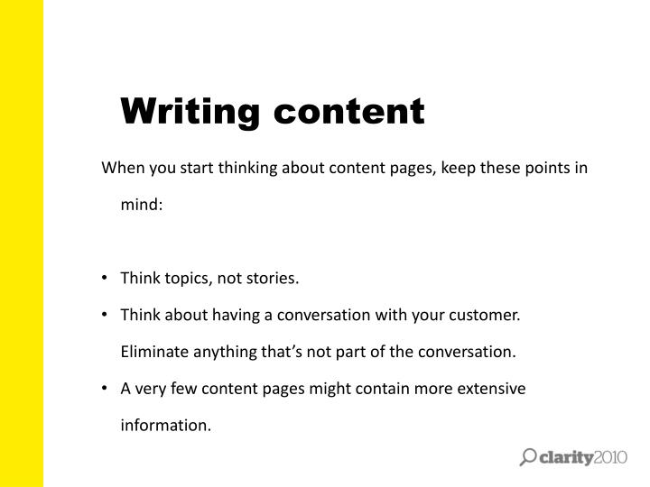 Writing content