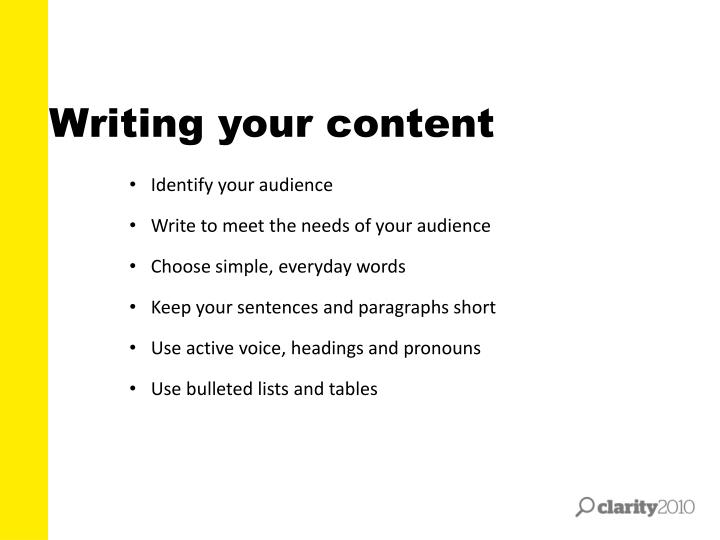 Writing your content