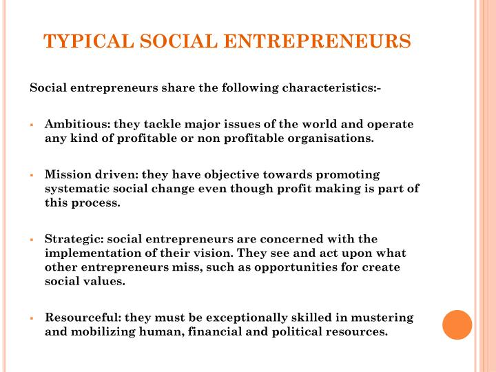 Typical social entrepreneurs