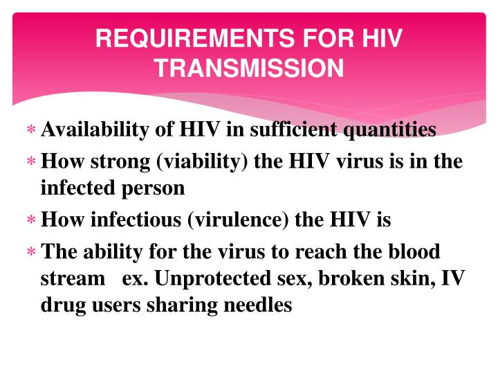 REQUIREMENTS FOR HIV TRANSMISSION